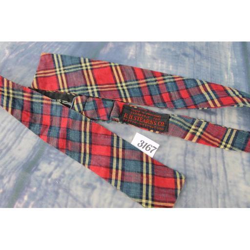 Vintage Rh Stearns English Self Tie Adjustable Straight End Bow Tie Tartan Plaid