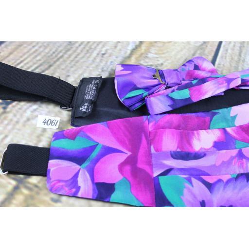 Vintage Lilac Floral Multi-Colour Cummerbund Pre-Tied Bow Tie Set