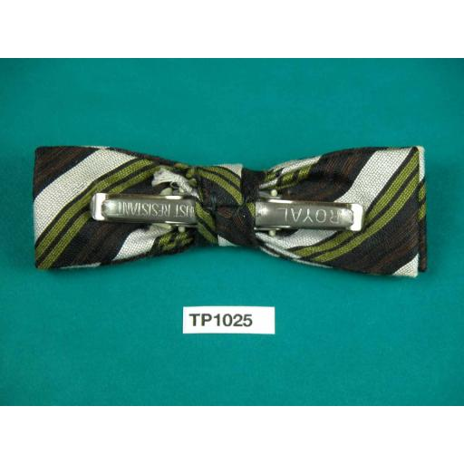 Vintage Boy's Olive Cream & Brown Stripe Square End Clip On Bow Tie