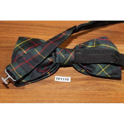 Vintage 100% Silk Tartan Plaid Pre Tied Adjustable Length Bow Tie