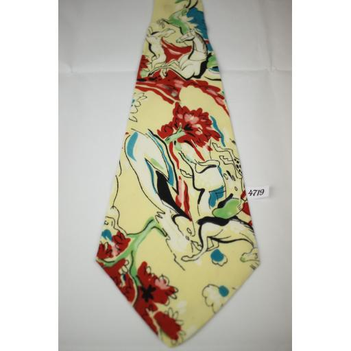1940s 1950s J.A.Flower Idaho Antique Cream Horse Antelope Design Tie Lindyhop/Swing/Zoot Suit
