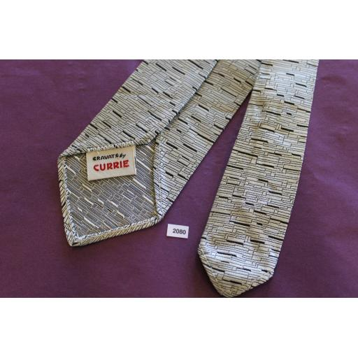 """Vintage 1950s/60s Cravat By Currie Silver Black With Sheen 2.5"""" Wide Tie Narrow/Skinny Jim/Mod"""