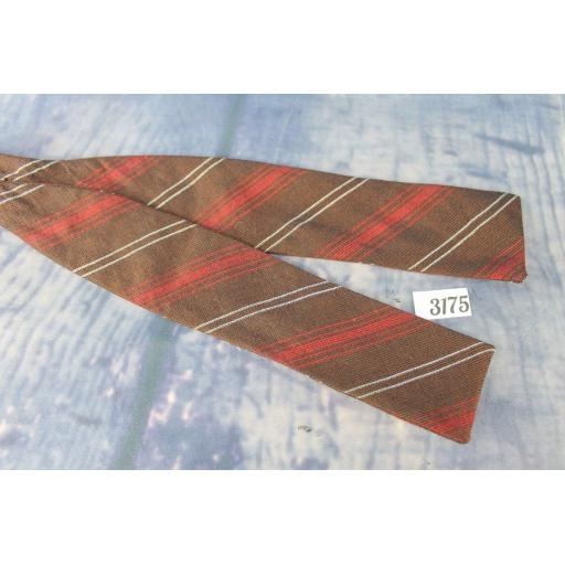 Vintage Weber & Heilbroner Self Tie Adjustable Straight End Skinny Bow Tie Brown Red & Ivory Striped