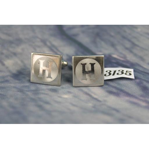 """Vintage Silver Metal """"H"""" Initial Cufflinks"""
