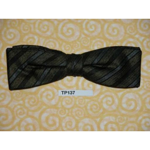 Vintage Clip On Bow Tie Dark Olive/Black/Grey Stripe