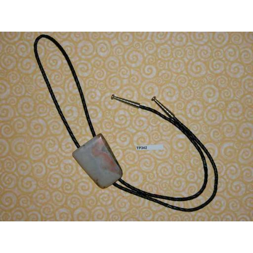 Western/Cowboy Bolo Tie Vintage Marble StoneToggle & Silver Metal Aiglets