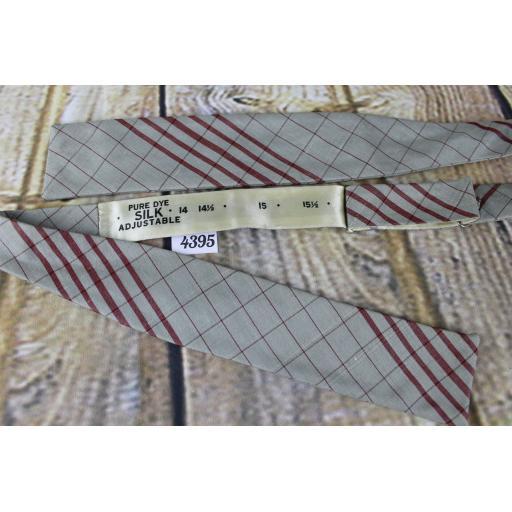 Vintage All Silk Self Tie Adjustable Straight End Paddle Bow Tie Grey & Burgundy