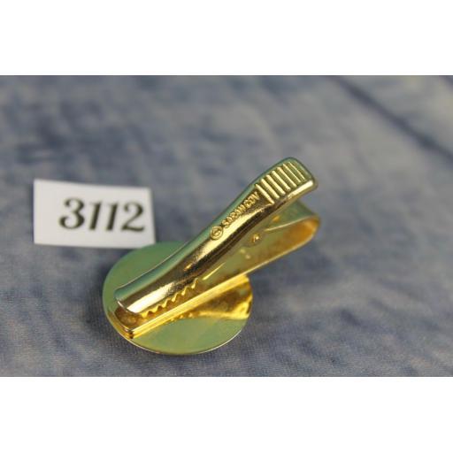 Vintage Sarah Cov Gold Metal Tie Clip Decorative Glass Stone