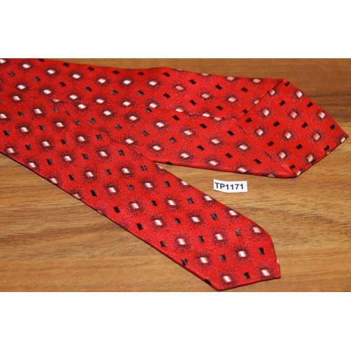 Vintage Red Black Cream Jacquard 6 cms Tie Narrow/Skinny Jim/ Mod
