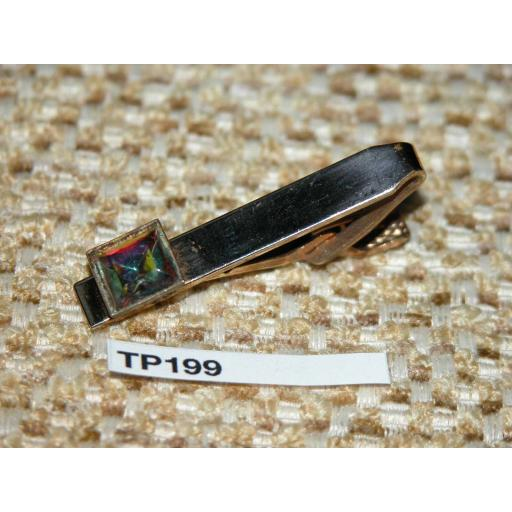 Vintage Gold Metal Tie Clip Iridescent Faceted Glass Stone TP199
