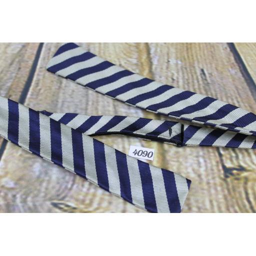 Vintage Self Tie Straight End Paddle Bow Tie Navy & Silver Stripe