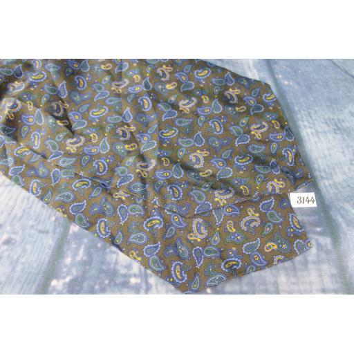 Vintage Hemleys 100% Long Cravat Or Scarf Arrow End Taupe Blue Gold Paisley