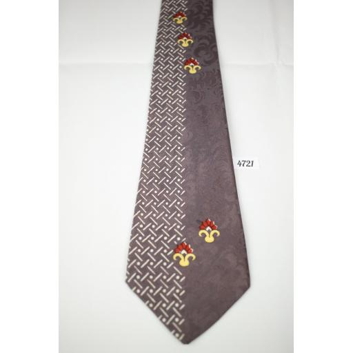 1940s 1950s Brent Jacquard Taupe Tie Excellent Quality Classic Design Tie