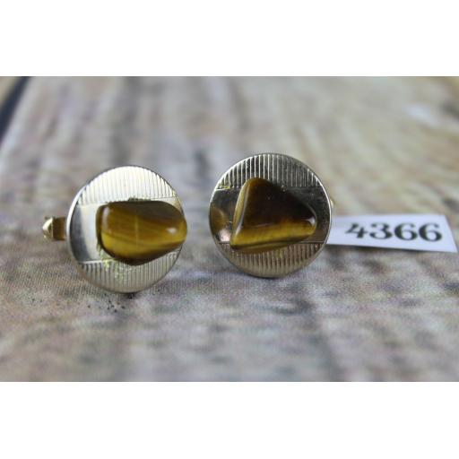 """Vintage Round Gold Metal Cuff Links With Tigers Eye Stones 3/4"""" Diameter"""