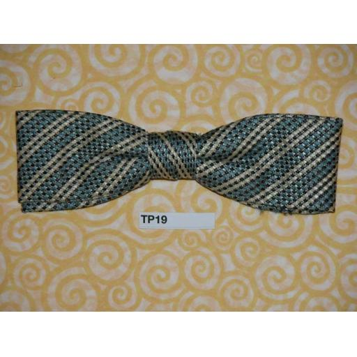 Vintage Clip On Bow Tie Pale Blue, Cream & Black Striped/Check Pattern