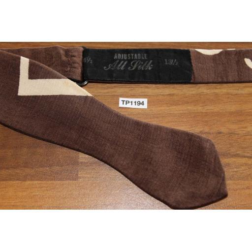 Vintage Self Tie Arrow End Bow Tie Brown & Beige Abstract Pattern