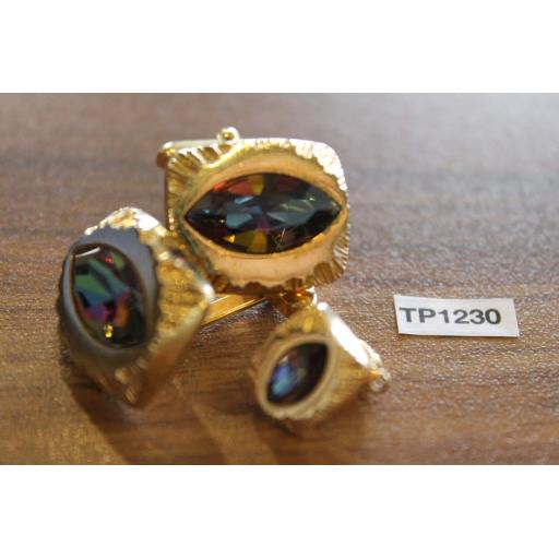 Vintage 1980s Bling Gold Metal Cufflinks & Tie Clip Set Iridescent Faceted Glass Stones