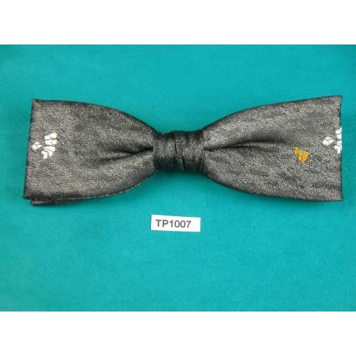 Vintage Charcoal Grey With Gold & Cream Motif Square End Clip On Bow Tie