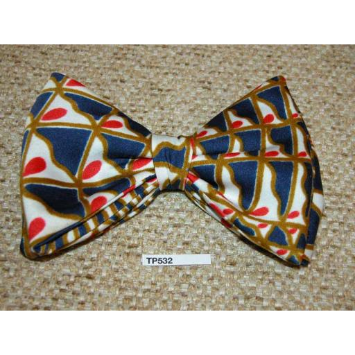 Vintage Clip On Bow Tie Red/White/Blue/Gold Butterfly Classic 70's Style