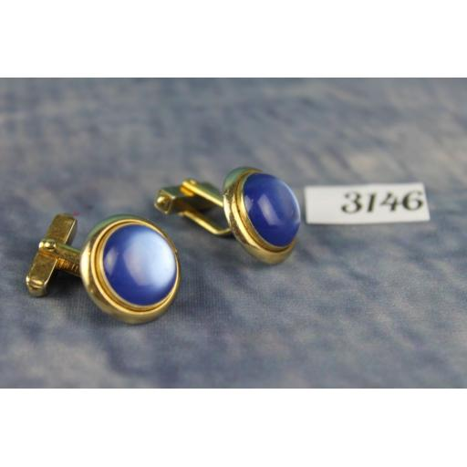 Vintage Swank Gold Metal Pearly Blue Lucite Cabochon Cufflinks