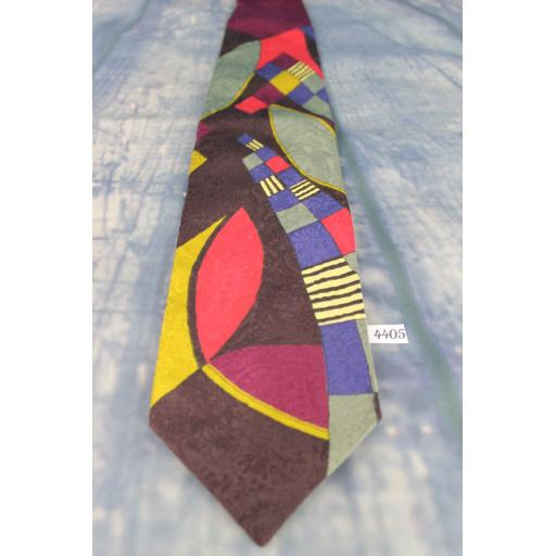 "Superb Vintage 1970s Swing Style Executive Silks Jaquard Multi Brights 100% Silk Tie 4"" Wide Kipper"