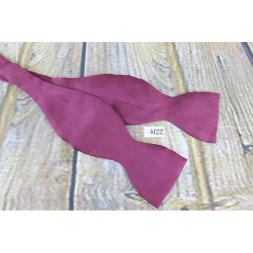Tie Rack 100% Silk Self Tie Straight End Thistle Bow Tie Burgundy