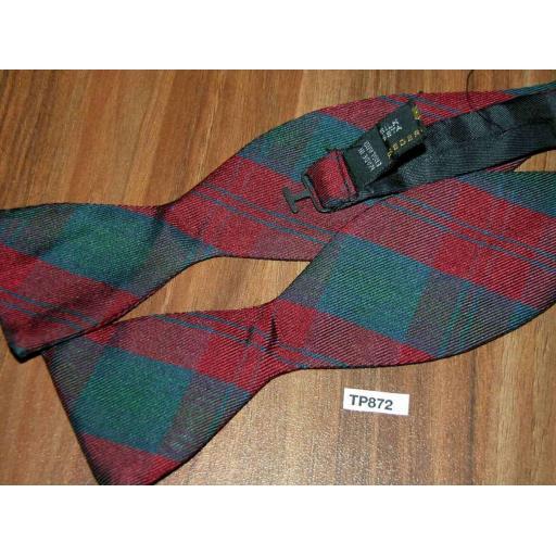 Vintage Frederick Theak Square End Thistle All Silk Self Tie Bow Tie Burgundy/Blue/Green Tartan