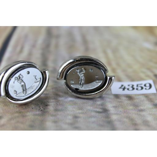 "Oval Silver Metal Cuff Links With Large Engraved Glass Golfer Centres 1"" Length"