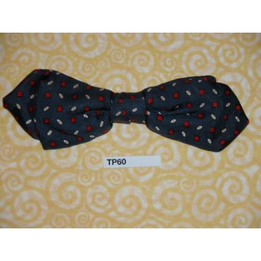 Vintage Clip On Bow Tie Dark Blue With Red/White Repeat Pattern