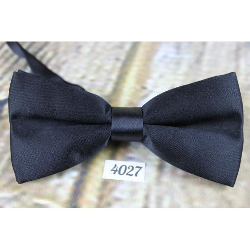 Vintage Classic Black Satin Pre-Tied Bow Tie Adjustable to Fit All