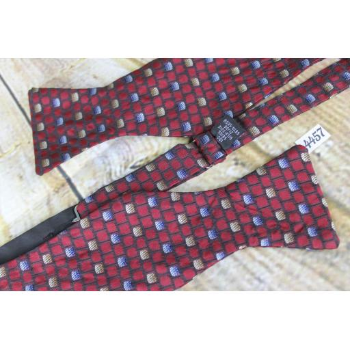 All Silk Self Tie Straight End Thistle Bow Burgundy Pattern