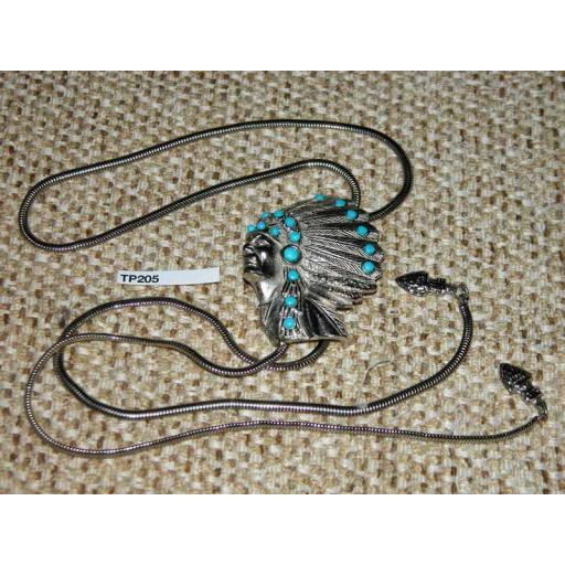 Western/Cowboy Bolo Tie Vintage Indian Chief Headdress Metal Cord