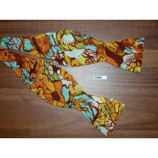 Vintage Self Tie Bow Tie Thistle End Multi Colour Cracked Pattern
