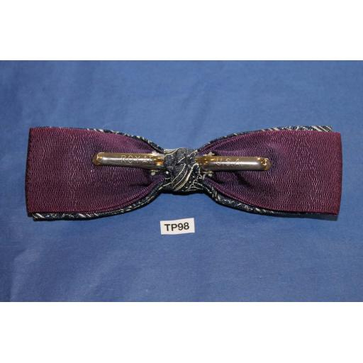 Vintage Navy & Cream Over Purple Double Bow Square End Clip On Bow Tie