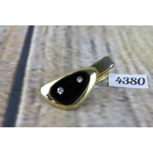 Vintage Sarah Coventry Gold Metal Diamante and Black Glass Tie Clip 1.5""