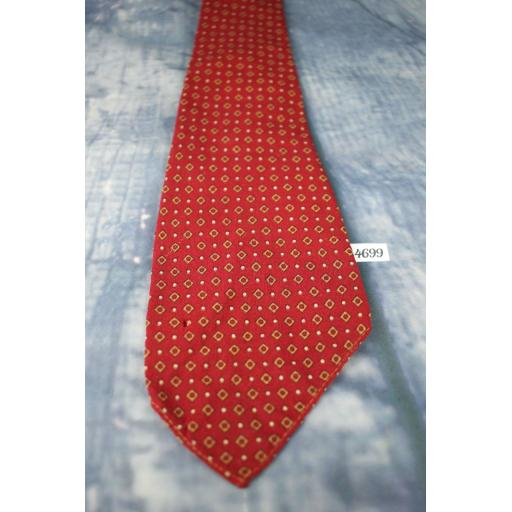 "Superb Vintage Botany Virgin Wool Asymmetric 1940s/1950s Tie 3.5"" Wide Burgundy"