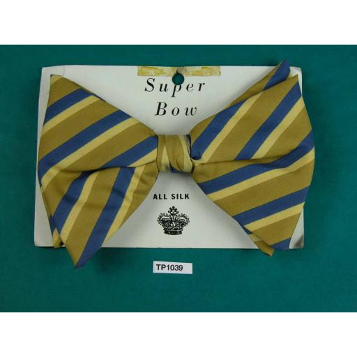 Super Bow All Silk Striped Blue, Taupe & Beige Large Clip On Bow Tie