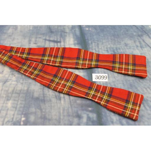 Vintage Self Tie Bow Tie Straight End Thistle Red & Green Tartan Plaid