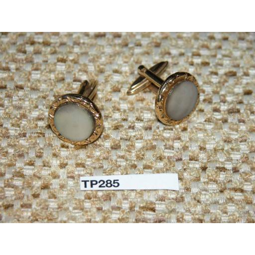 Vintage Cuff Links Gold Metal Grey Pearlised Glass Button Setting TP285
