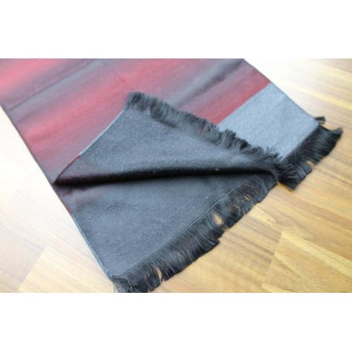 Vintage Mens Unusual Striped Burgundy Grey Black Fringed Scarf Retro Mod