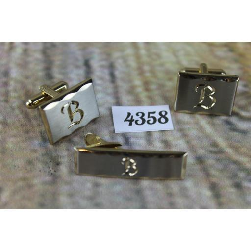 Vintage Hickok USA Initial B Matching Oblong Gold Metal Cufflinks and Tie Clip