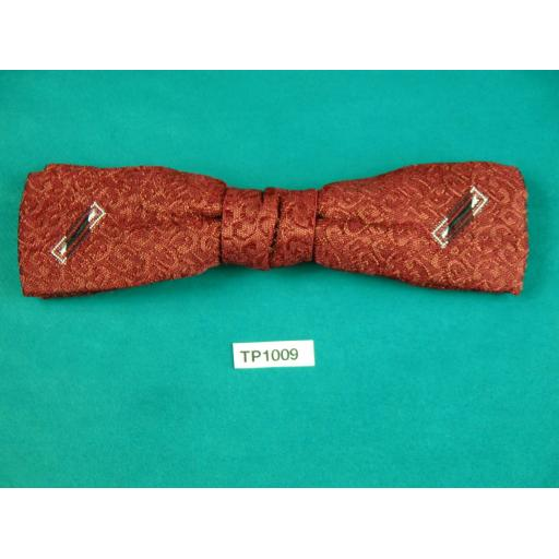 Vintage Claret Jacquard Embroidered Motif Square End Clip On Bow Tie