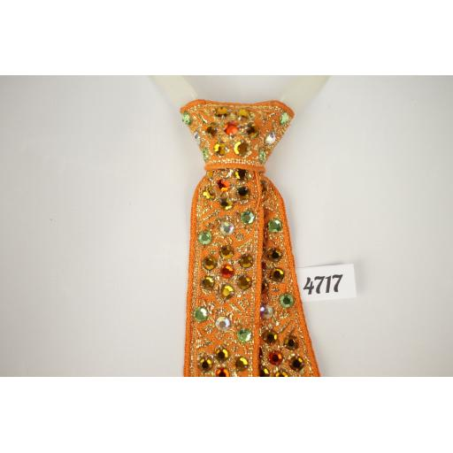 Vintage Orange & Green Rhinestone Clip On Western/Cowboy/Kentucky/Square Dance Tie