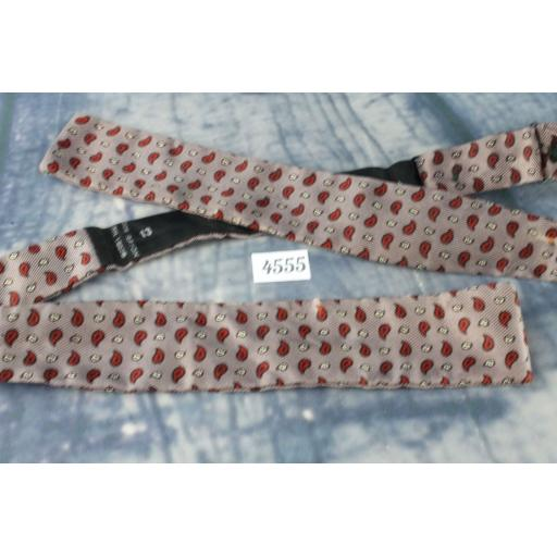 Superb Vintage Taupe & Red Paisley Pattern Self Tie Square End Bow Tie