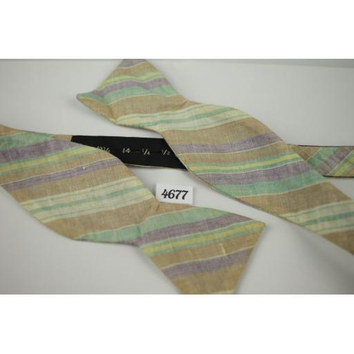 Vintage Pastel Striped Linen Self Tie Straight End Thistle Bow Tie