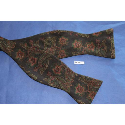 Vintage 100% Silk Self Tie Straight End Thistle Bow Tie Brown/Green Paisley