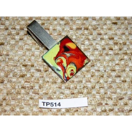 Vintage Gold Metal Square Hand Enamelled Red/Yellow Tie Clip