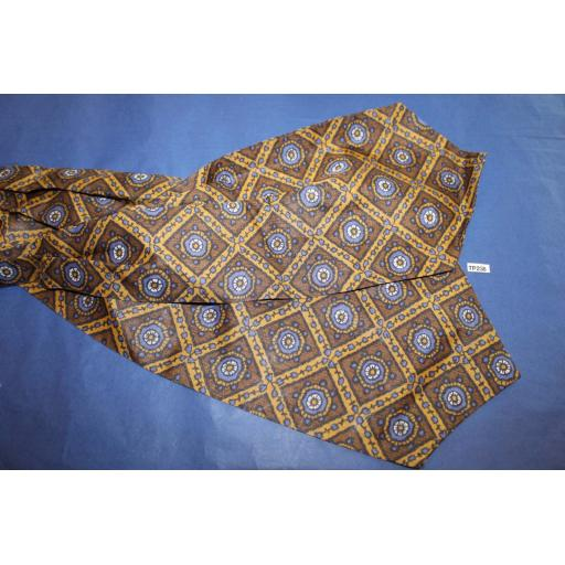 Vintage Tootal Brown Ocre & Blue Patterned Cravat Retro Mod