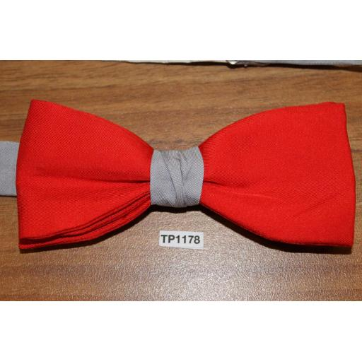Vintage Akco Red & Grey Pre-tied Adjustable Bow Tie