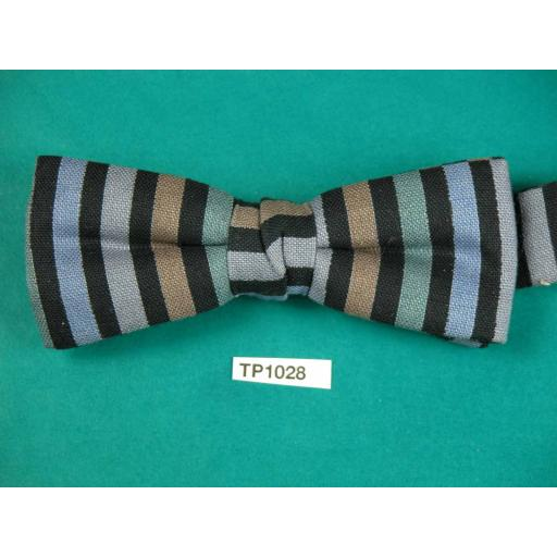 Vintage Striped Blue Green Black Vicky Davies Square End Pre Tied Adjustable Length Bow Tie